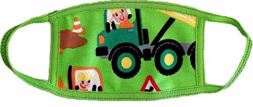 Μάσκα παιδική υφασμάτινη για παιδιά 3-7 ετών πράσινη με φορτηγά