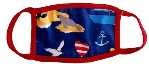 Μάσκα παιδική υφασμάτινη για παιδιά 3-7 ετών κόκκινη με θάλασσα