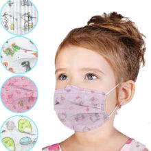 Παιδικές μάσκες μιας χρήσης 3-ply ροζ με γάτες για κορίτσι